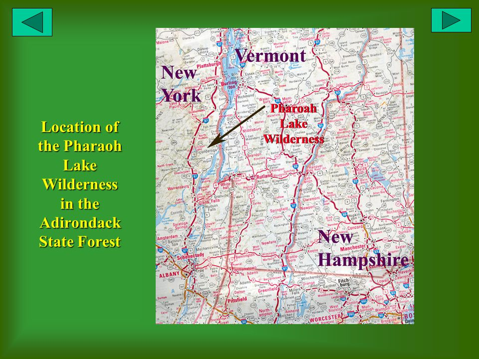 Location of the Pharaoh Lake Wilderness in the Adirondack State Forest