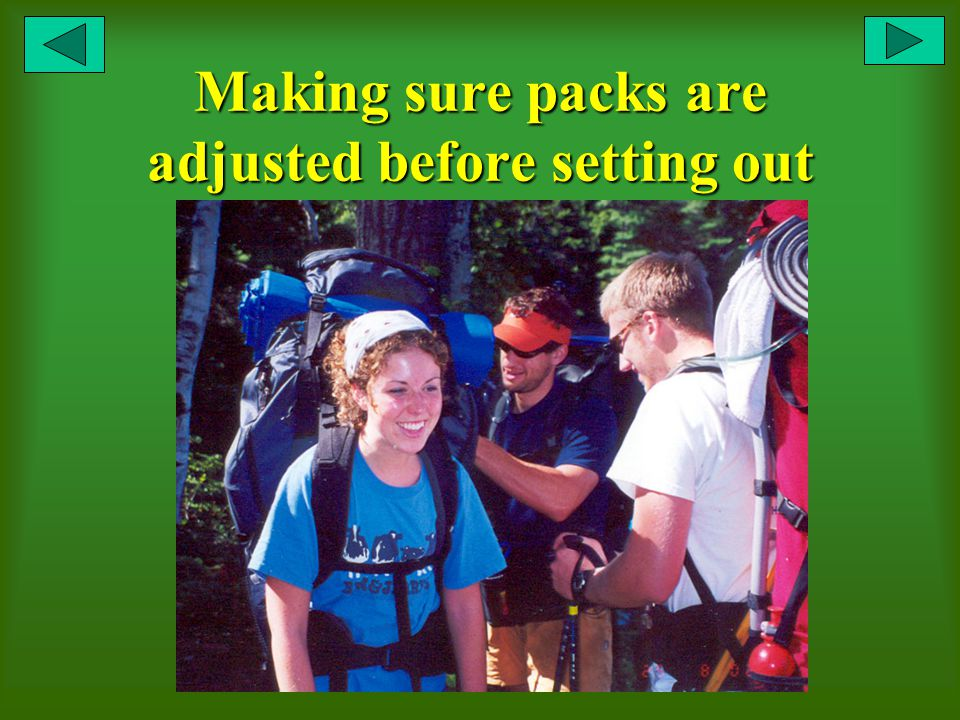 Making sure packs are adjusted before setting out