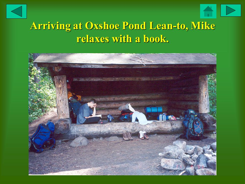 Arriving at Oxshoe Pond Lean-to, Mike relaxes with a book.