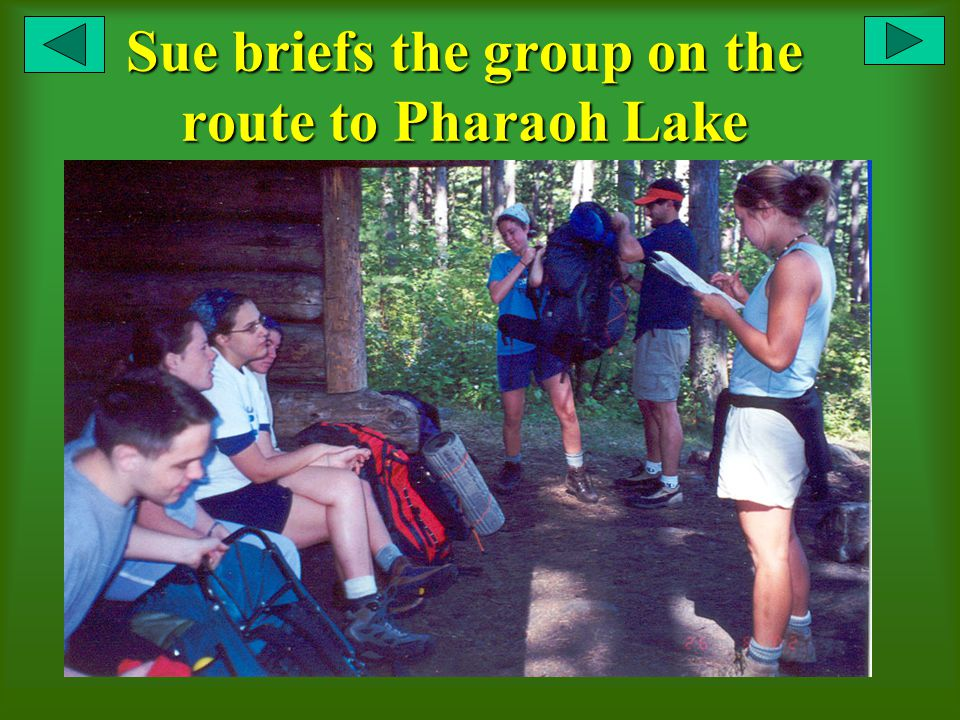 Sue briefs the group on the route to Pharaoh Lake