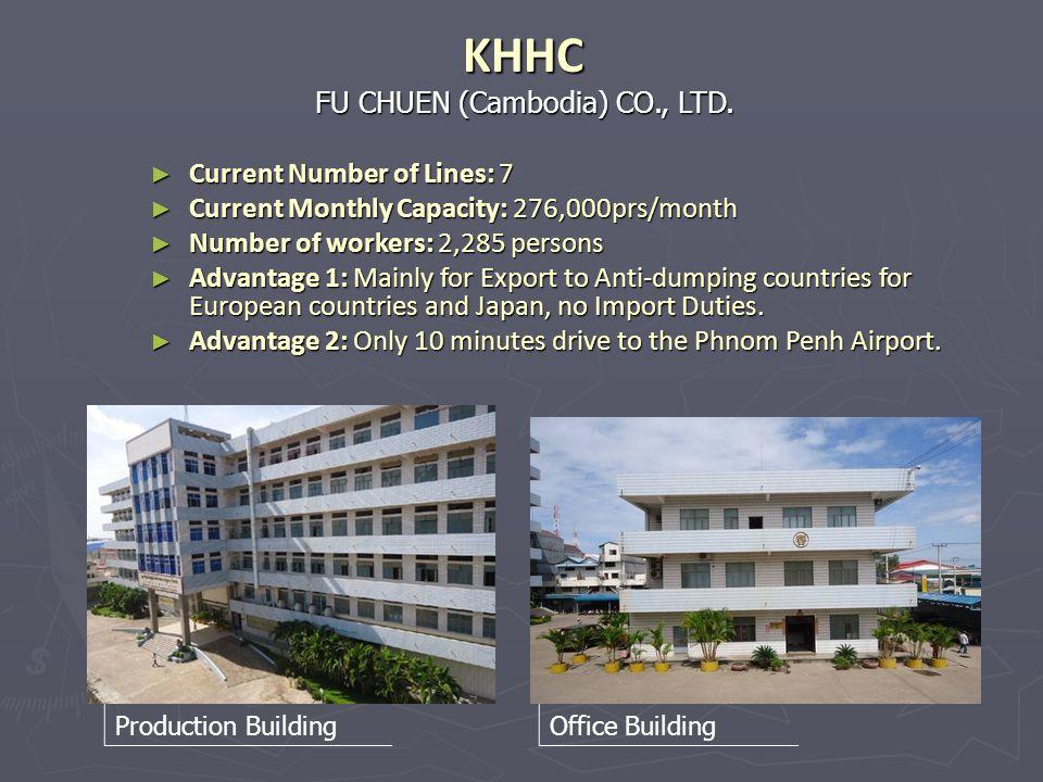 FU CHUEN (Cambodia) CO., LTD. KHHC Current Number of Lines: 7 Current Number of Lines: 7 Current Monthly Capacity: 276,000prs/month Current Monthly Ca