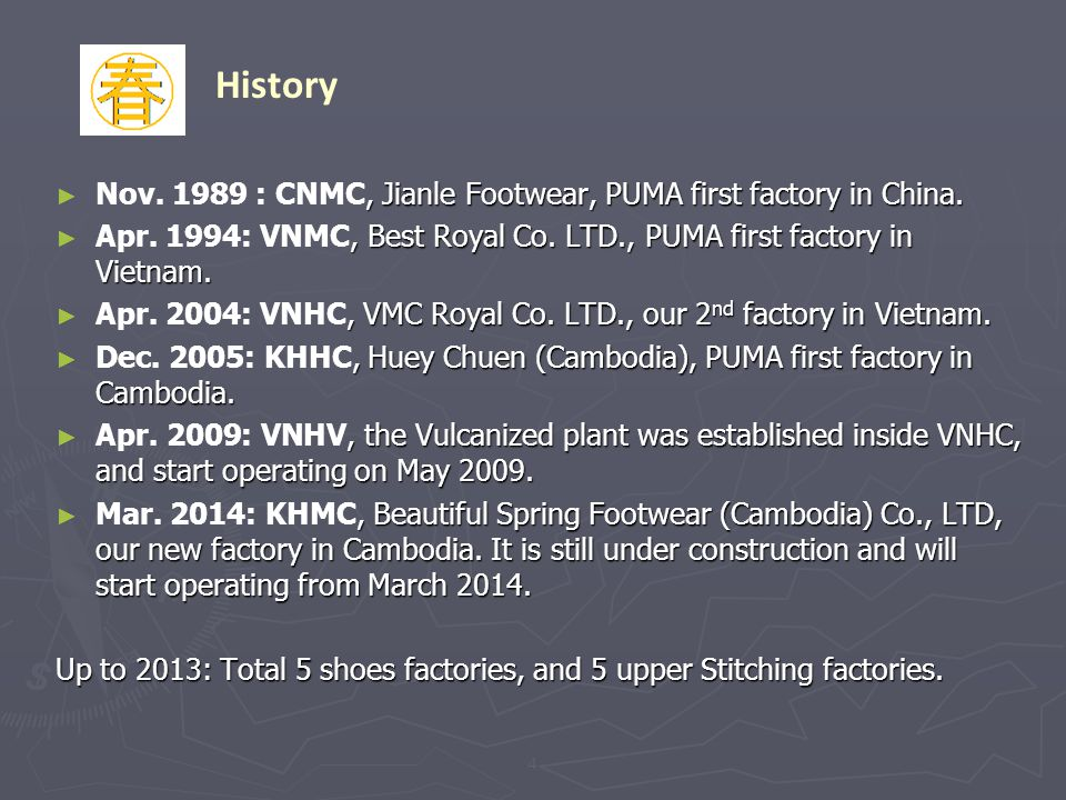 , Jianle Footwear, PUMA first factory in China. Nov. 1989 : CNMC, Jianle Footwear, PUMA first factory in China., Best Royal Co. LTD., PUMA first facto