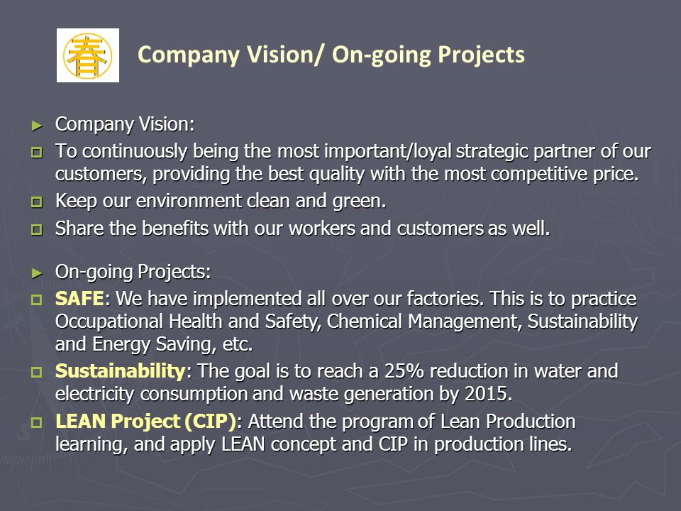 Company Vision: Company Vision: To continuously being the most important/loyal strategic partner of our customers, providing the best quality with the