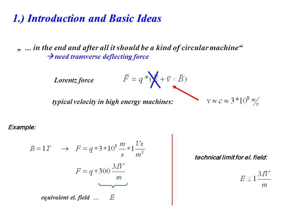 Lorentz force... in the end and after all it should be a kind of circular machine need transverse deflecting force typical velocity in high energy mac
