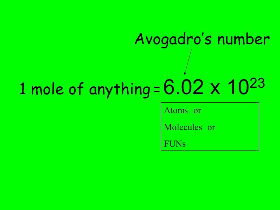 2. 1 mol = 6.02 x 10 23 representative particles 3.