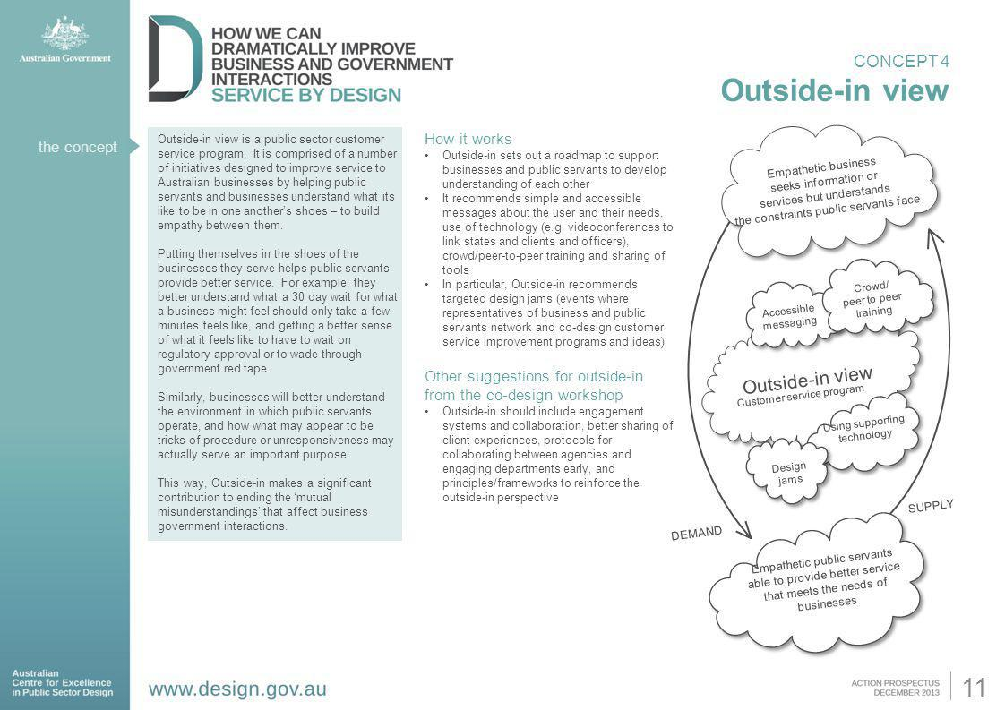 the concept Outside-in view is a public sector customer service program. It is comprised of a number of initiatives designed to improve service to Aus