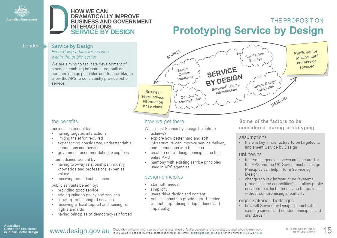 the idea Service by Design Embedding a bias for service within the public sector We are aiming to facilitate development of a service-enabling infrast