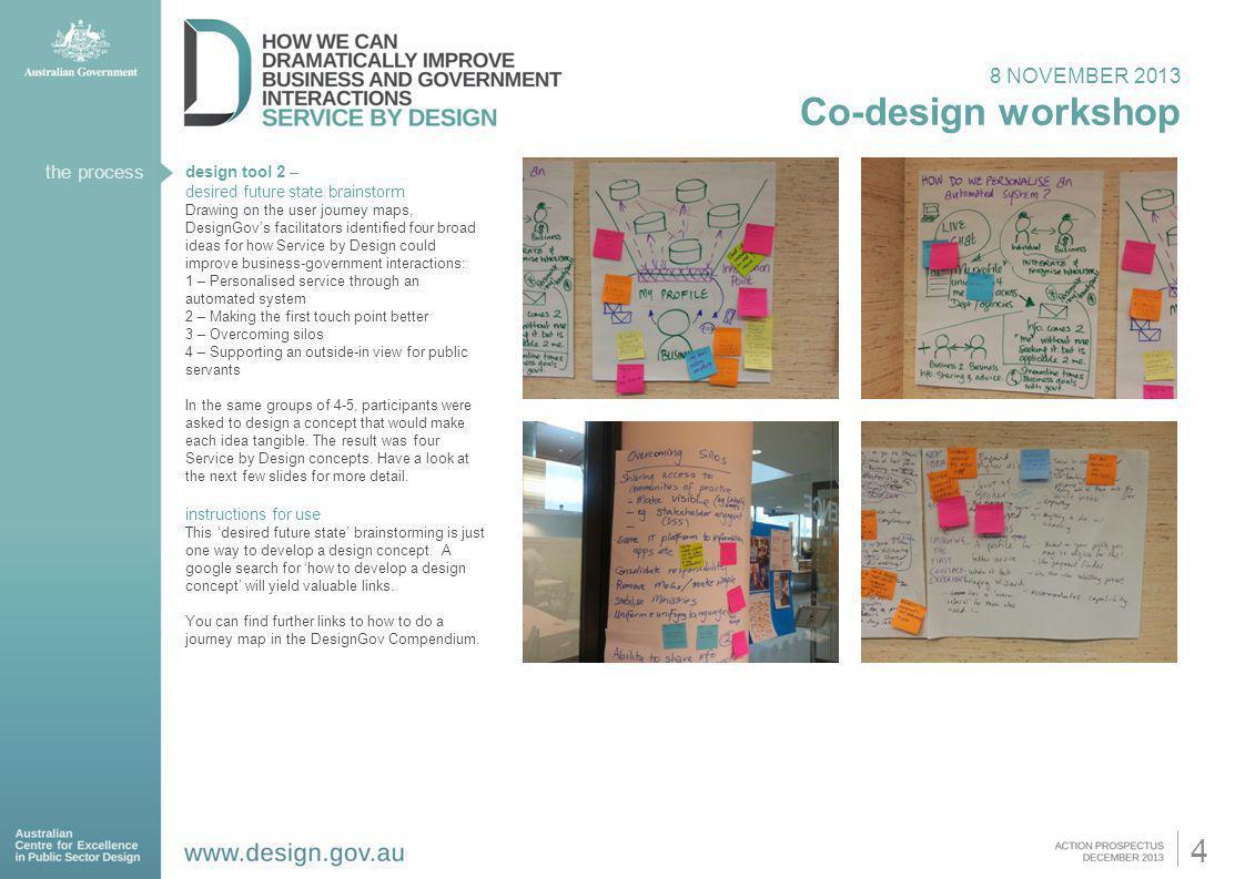 8 NOVEMBER 2013 Co-design workshop design tool 2 – desired future state brainstorm Drawing on the user journey maps, DesignGovs facilitators identifie