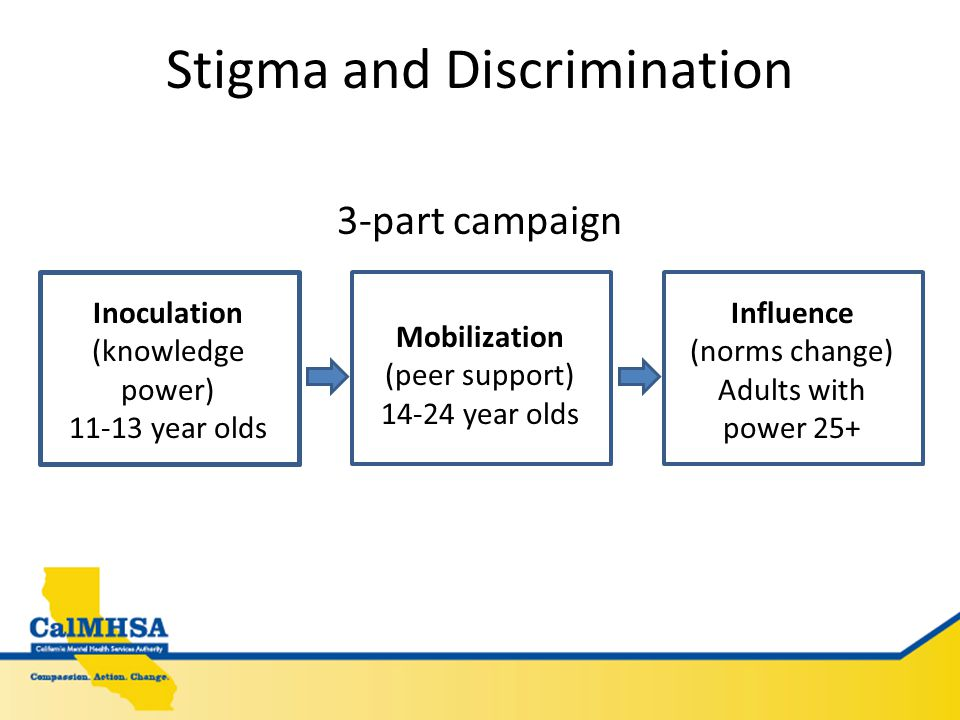 Stigma and Discrimination 3-part campaign Inoculation (knowledge power) 11-13 year olds Mobilization (peer support) 14-24 year olds Influence (norms change) Adults with power 25+