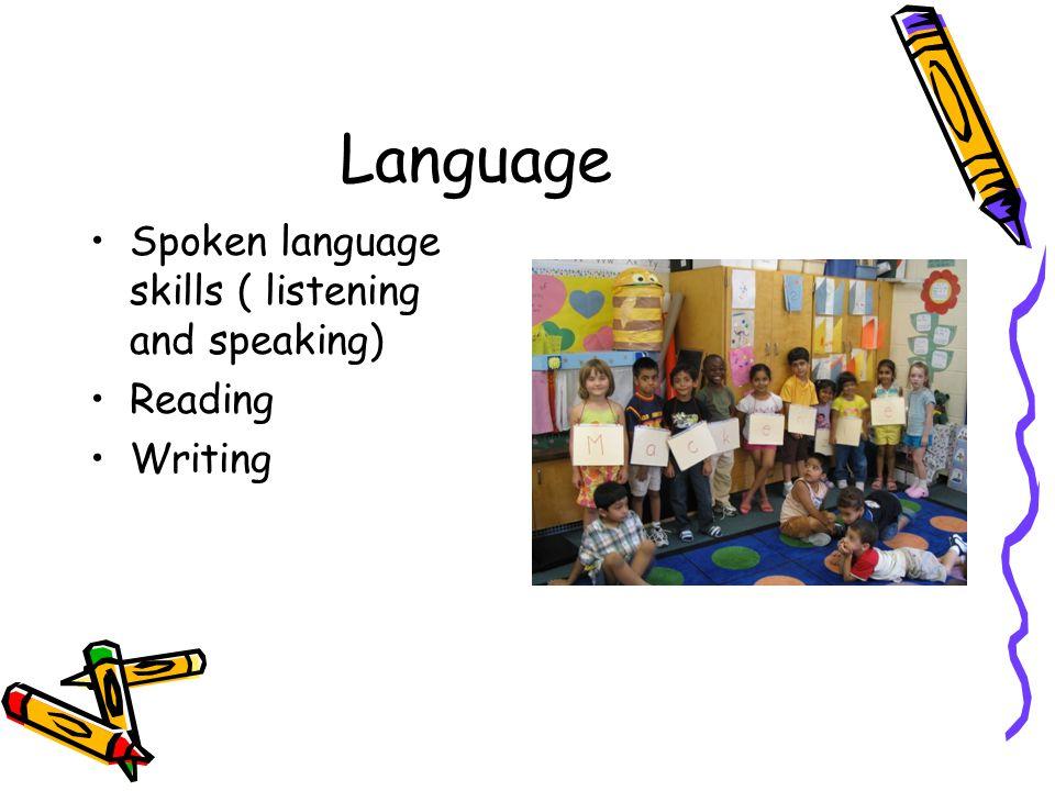 Language Spoken language skills ( listening and speaking) Reading Writing