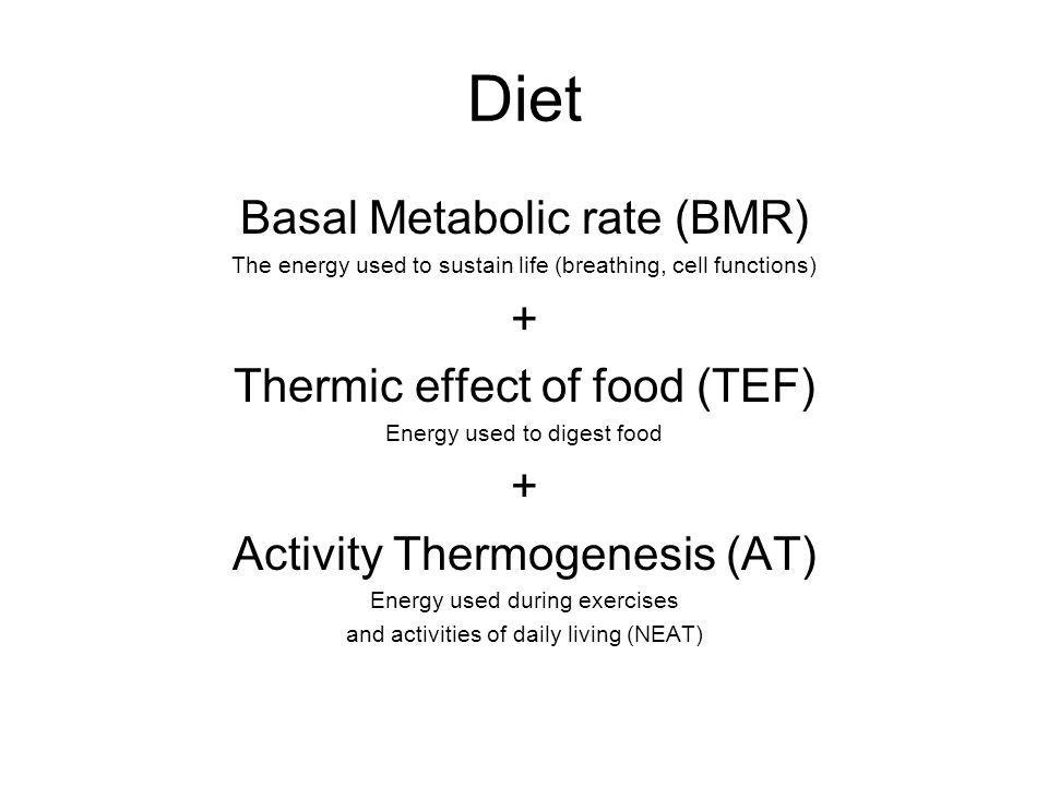 Diet Basal Metabolic rate (BMR) The energy used to sustain life (breathing, cell functions) + Thermic effect of food (TEF) Energy used to digest food