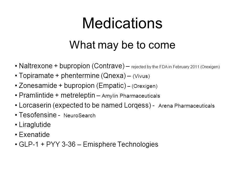Medications What may be to come Naltrexone + bupropion (Contrave) – rejected by the FDA in February 2011 (Orexigen) Topiramate + phentermine (Qnexa) –