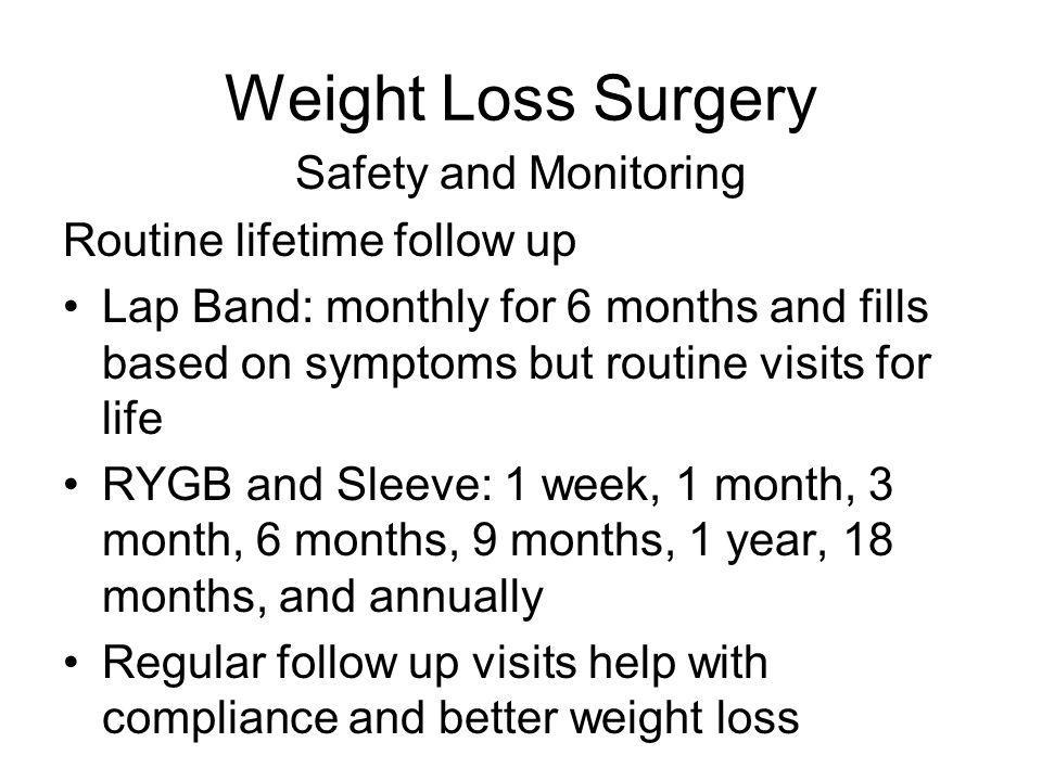 Weight Loss Surgery Safety and Monitoring Routine lifetime follow up Lap Band: monthly for 6 months and fills based on symptoms but routine visits for