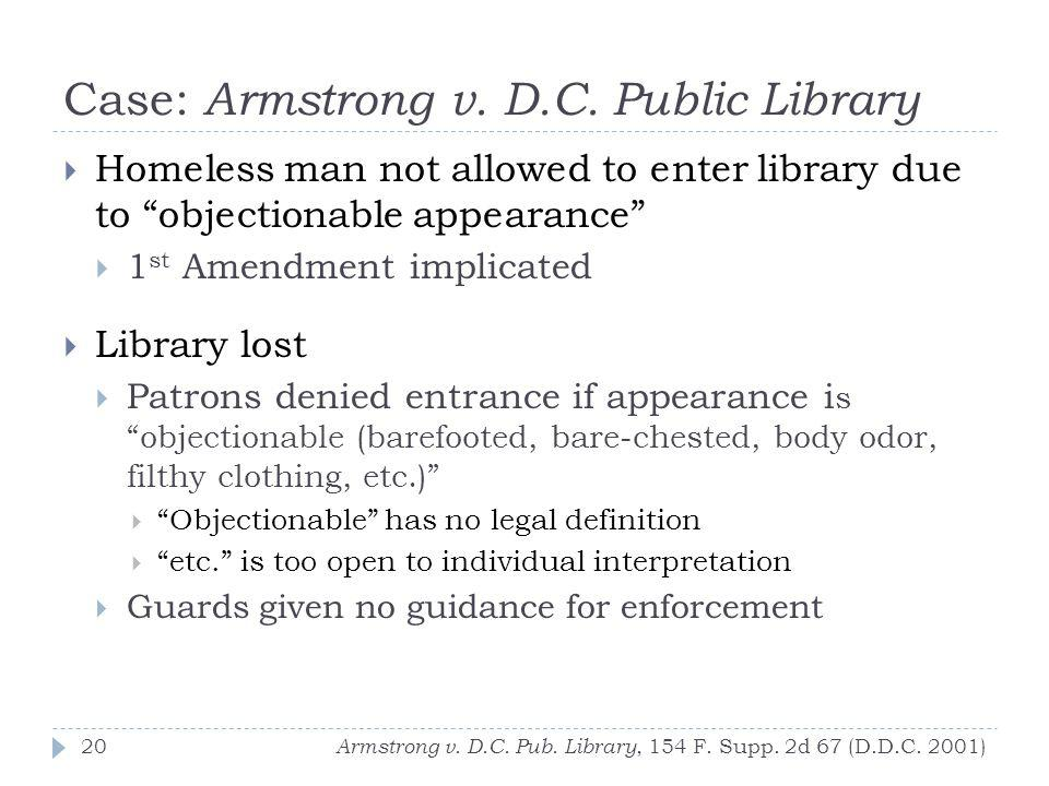 Case: Armstrong v. D.C. Public Library Armstrong v.