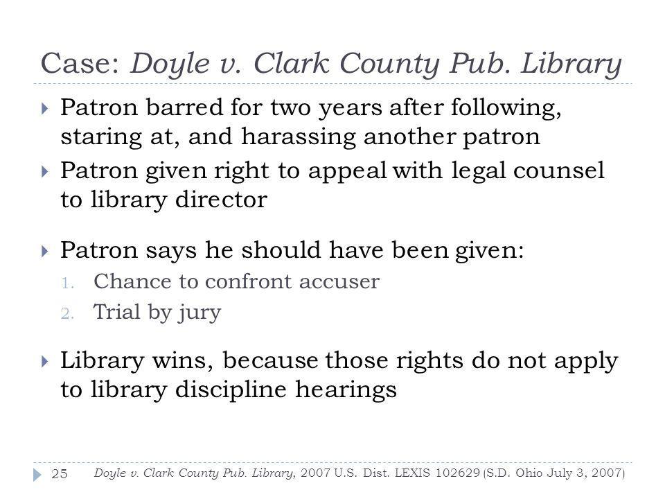 Case: Doyle v. Clark County Pub. Library Doyle v.