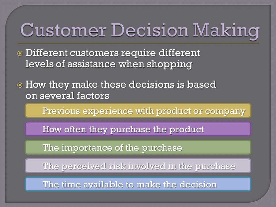 Different customers require different levels of assistance when shopping Different customers require different levels of assistance when shopping How
