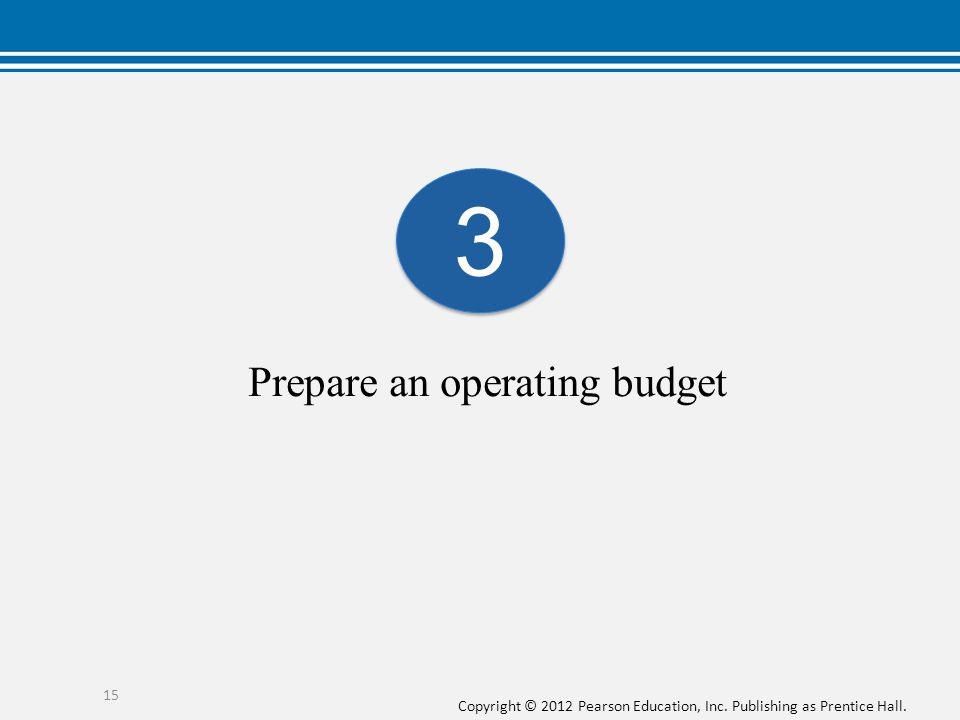 Copyright © 2012 Pearson Education, Inc. Publishing as Prentice Hall. Prepare an operating budget 3 3 15