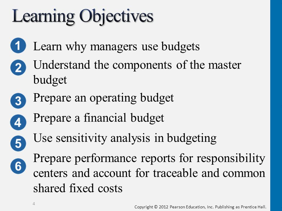 4 Learn why managers use budgets Understand the components of the master budget Prepare an operating budget Prepare a financial budget Use sensitivity