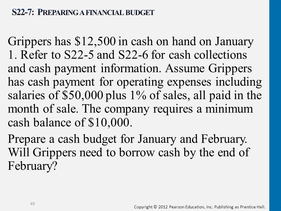 Copyright © 2012 Pearson Education, Inc. Publishing as Prentice Hall. Grippers has $12,500 in cash on hand on January 1. Refer to S22-5 and S22-6 for