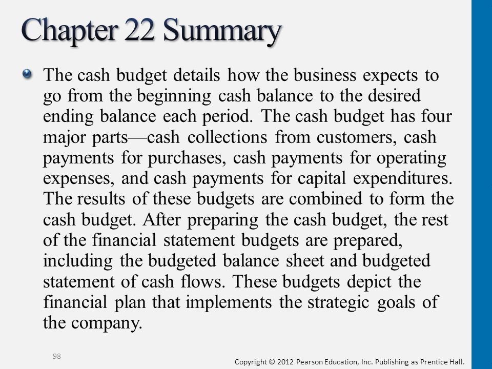 Copyright © 2012 Pearson Education, Inc. Publishing as Prentice Hall. The cash budget details how the business expects to go from the beginning cash b