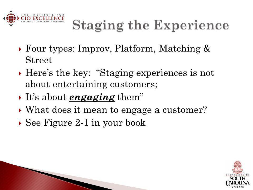 Four types: Improv, Platform, Matching & Street Heres the key: Staging experiences is not about entertaining customers; Its about engaging them What does it mean to engage a customer.