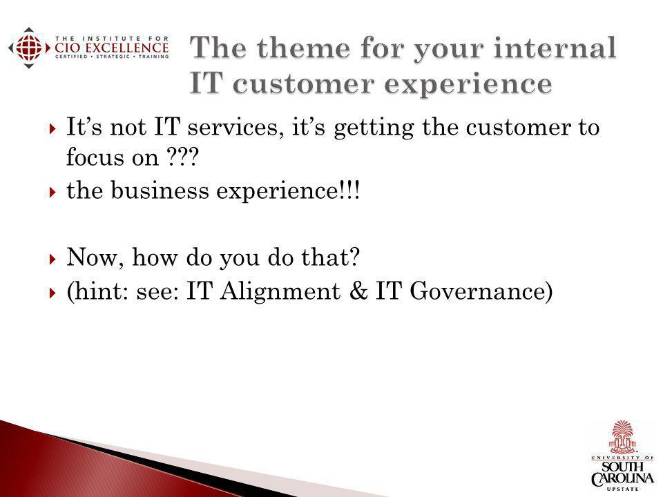 the business experience!!! Now, how do you do that? (hint: see: IT Alignment & IT Governance)