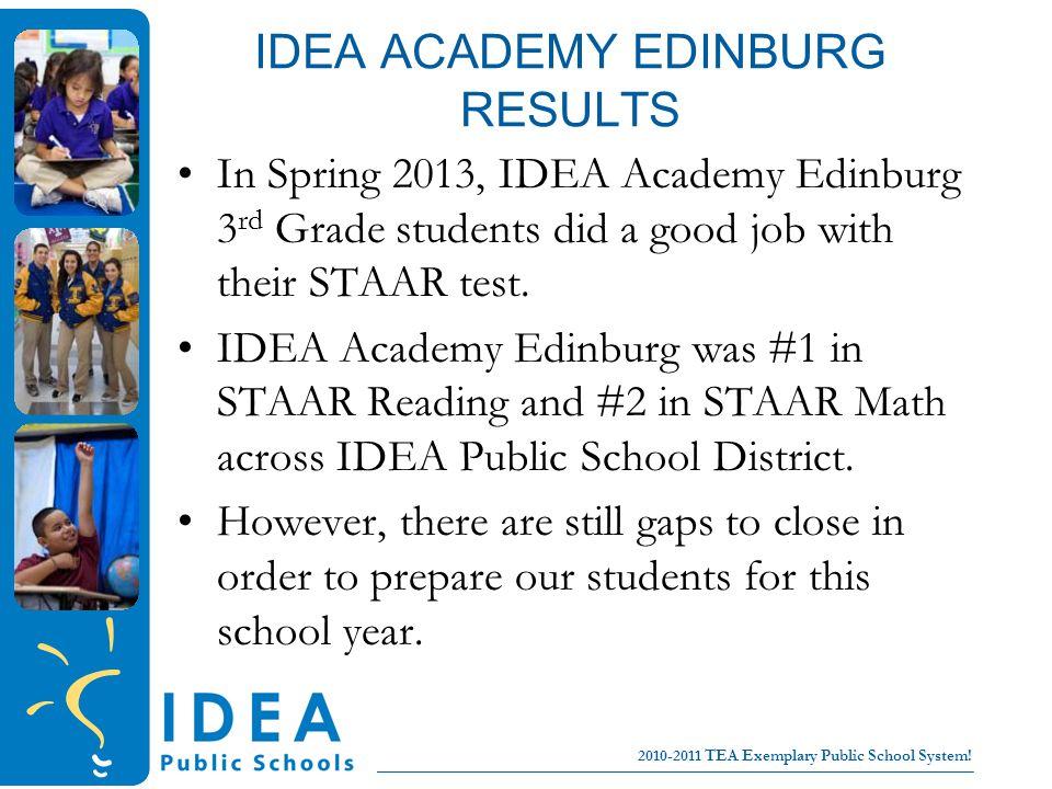 College for all children No Excuses! 2010-2011 TEA Exemplary Public School System! IDEA ACADEMY EDINBURG RESULTS In Spring 2013, IDEA Academy Edinburg