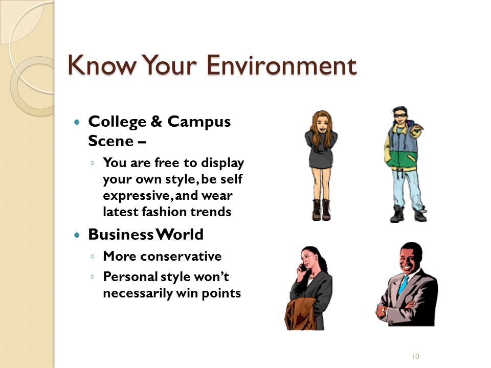 10 Know Your Environment College & Campus Scene – You are free to display your own style, be self expressive, and wear latest fashion trends Business