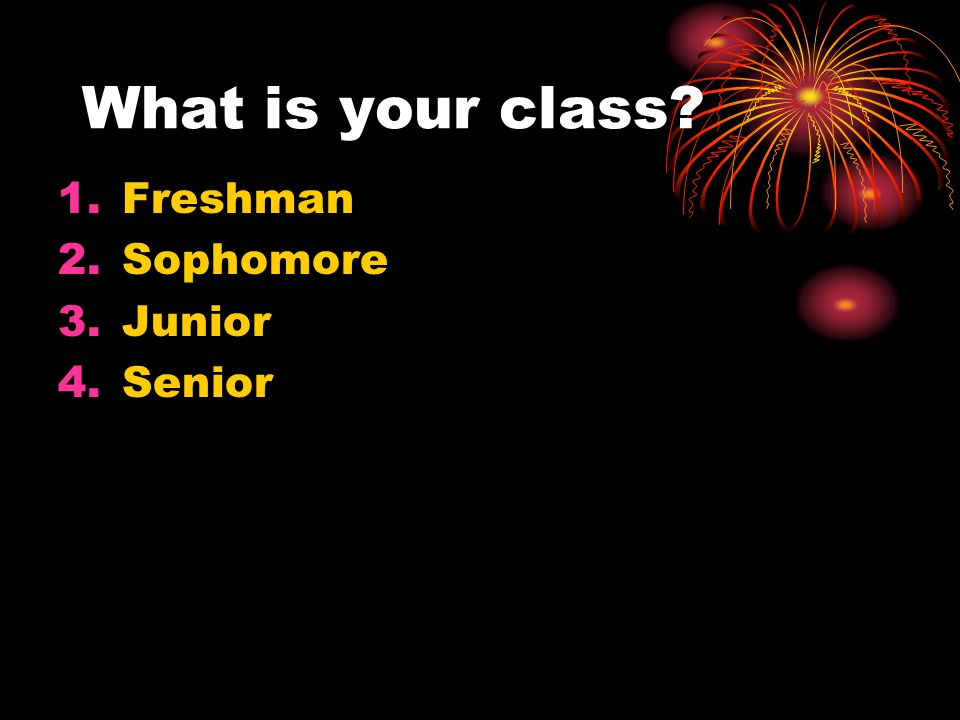 What is your class? 1.Freshman 2.Sophomore 3.Junior 4.Senior
