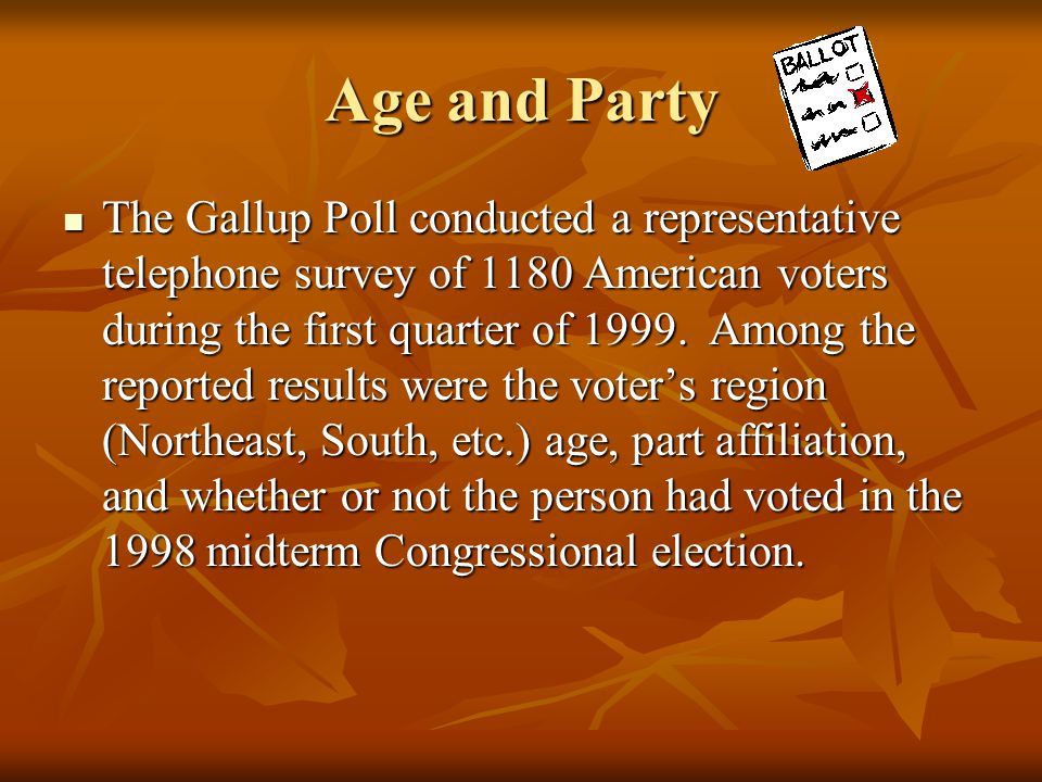 Age and Party The Gallup Poll conducted a representative telephone survey of 1180 American voters during the first quarter of 1999. Among the reported