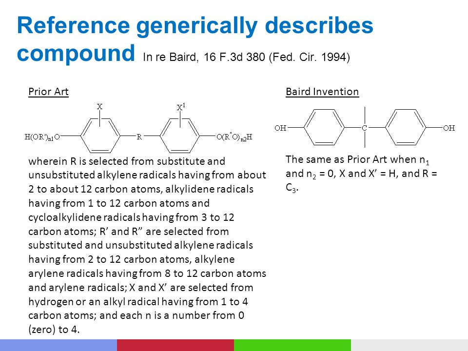 Reference generically describes compound In re Baird, 16 F.3d 380 (Fed.