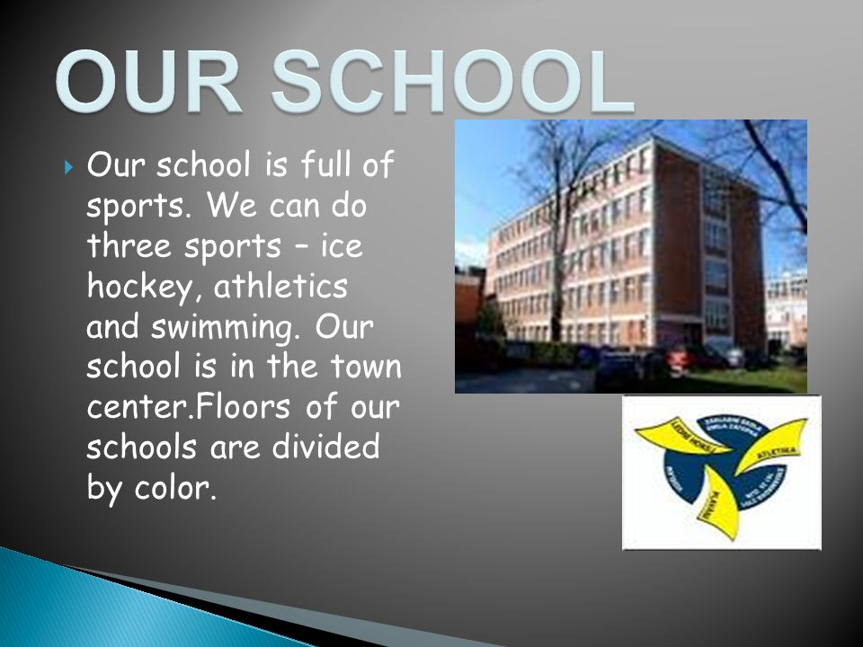 Our school is full of sports. We can do three sports – ice hockey, athletics and swimming.