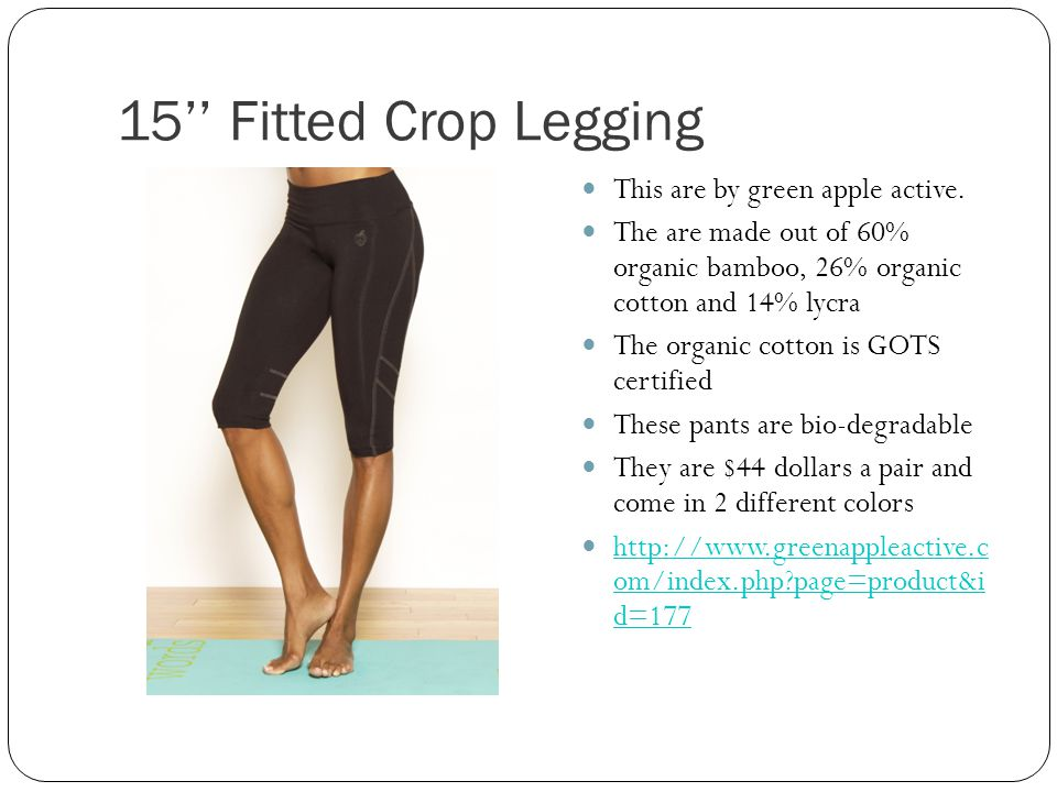 15 Fitted Crop Legging This are by green apple active.