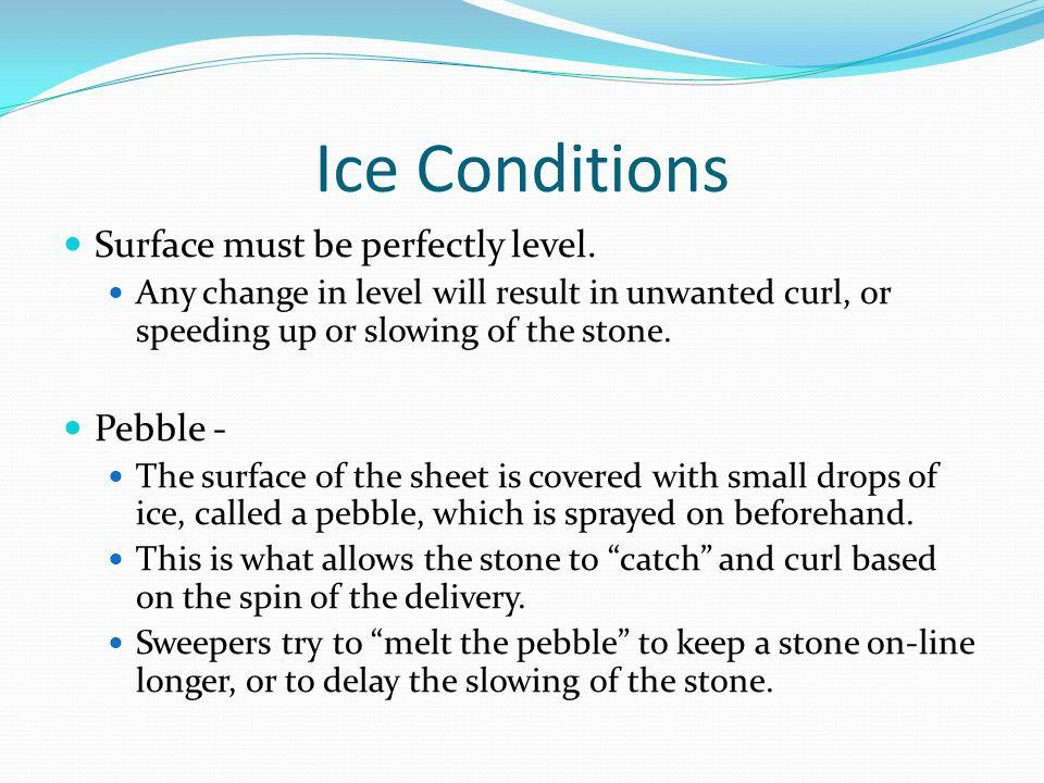 Ice Conditions Surface must be perfectly level.