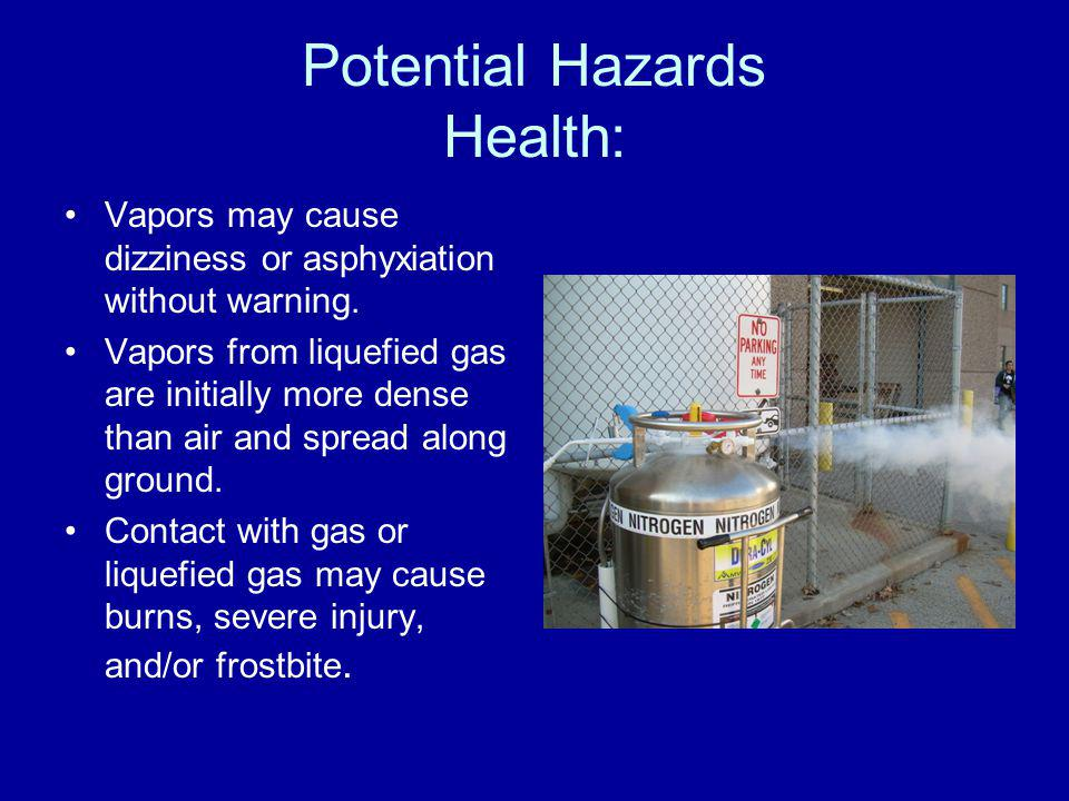 Potential Hazards Health: Vapors may cause dizziness or asphyxiation without warning. Vapors from liquefied gas are initially more dense than air and