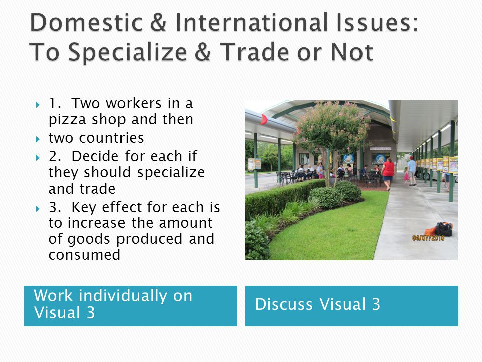 Work individually on Visual 3 Discuss Visual 3 1. Two workers in a pizza shop and then two countries 2. Decide for each if they should specialize and