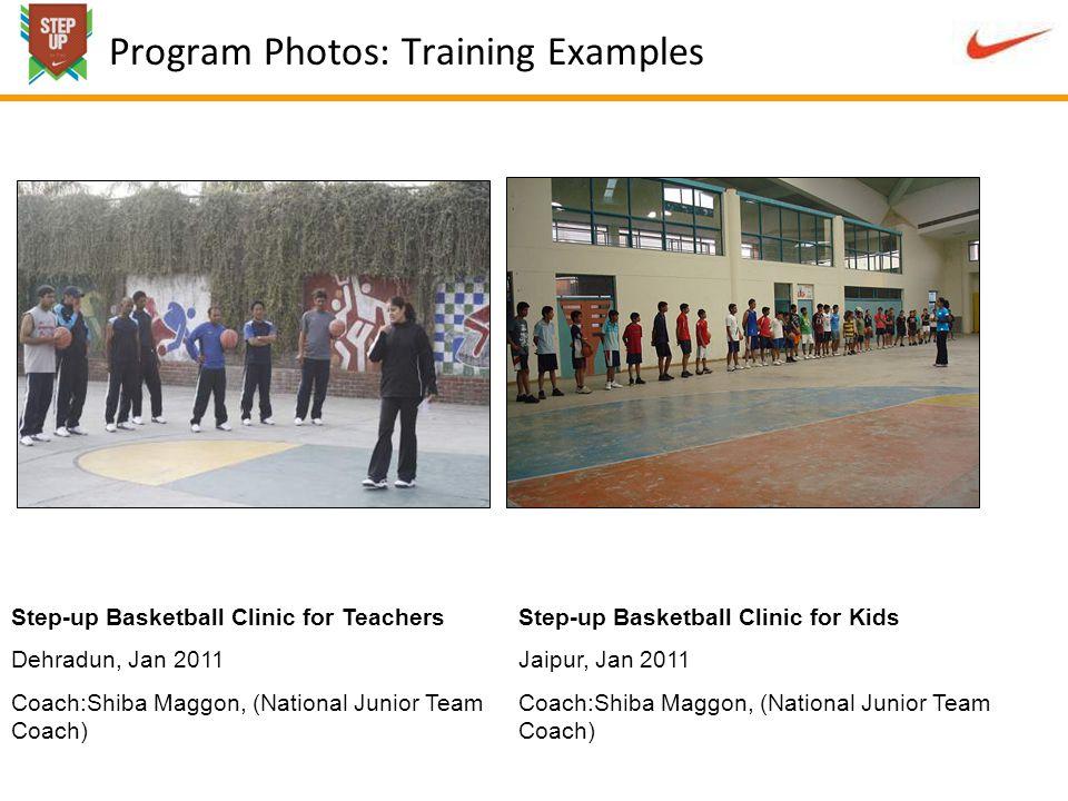 Program Photos: Training Examples Step-up Basketball Clinic for Teachers Dehradun, Jan 2011 Coach:Shiba Maggon, (National Junior Team Coach) Step-up Basketball Clinic for Kids Jaipur, Jan 2011 Coach:Shiba Maggon, (National Junior Team Coach)