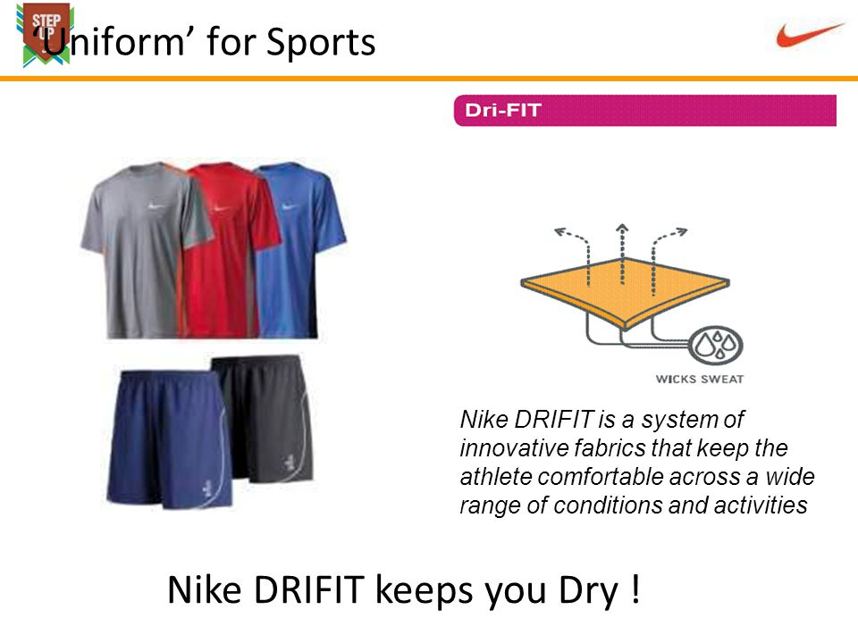 Uniform for Sports Nike DRIFIT is a system of innovative fabrics that keep the athlete comfortable across a wide range of conditions and activities Nike DRIFIT keeps you Dry !