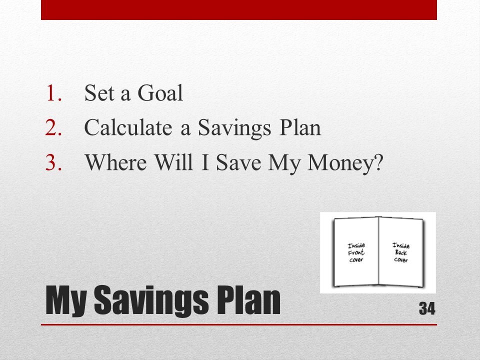 My Savings Plan 1.Set a Goal 2.Calculate a Savings Plan 3.Where Will I Save My Money 34