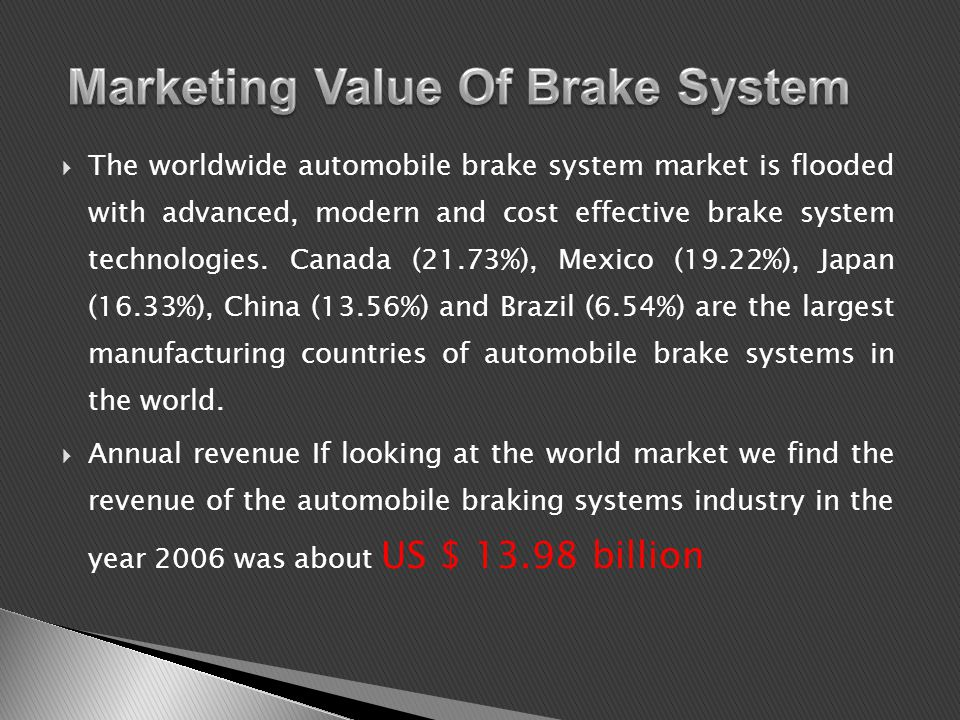 The worldwide automobile brake system market is flooded with advanced, modern and cost effective brake system technologies.