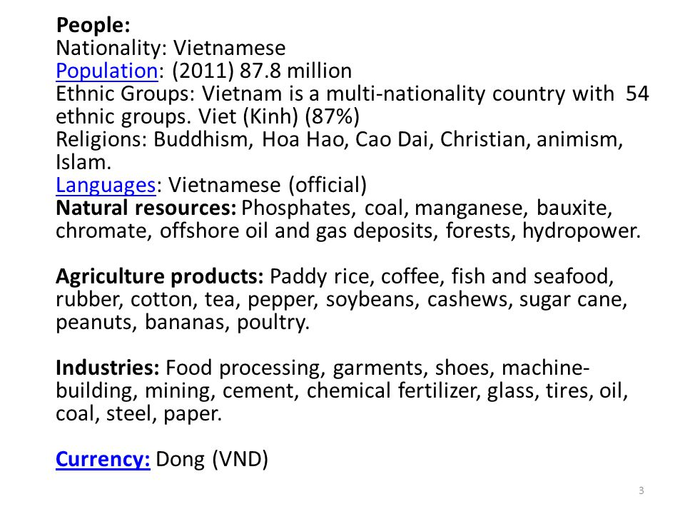 People: Nationality: Vietnamese Population: (2011) 87.8 million Ethnic Groups: Vietnam is a multi-nationality country with 54 ethnic groups. Viet (Kin