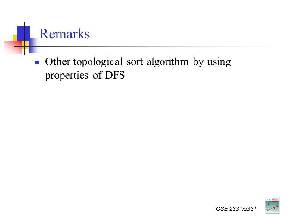 Remarks Other topological sort algorithm by using properties of DFS CSE 2331/5331