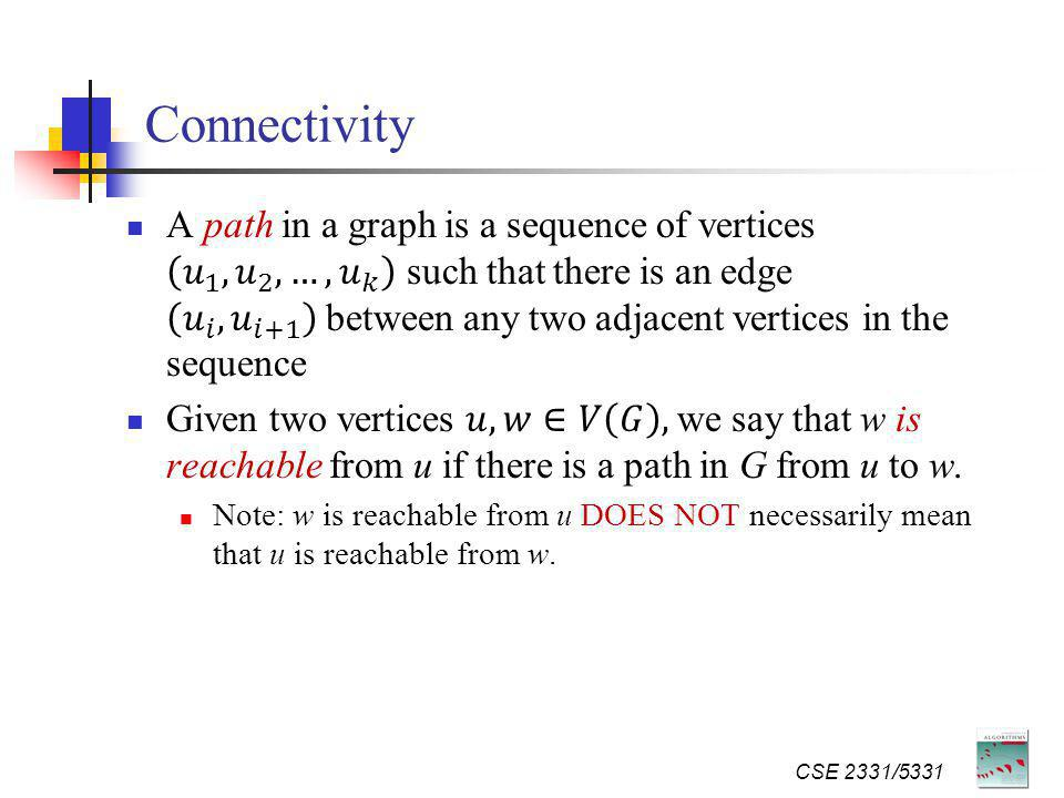 Connectivity CSE 2331/5331