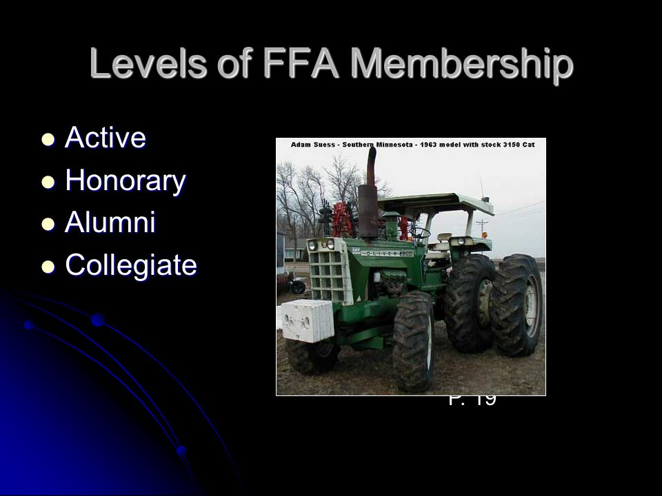 Levels of FFA Membership Active Active Honorary Honorary Alumni Alumni Collegiate Collegiate P. 19