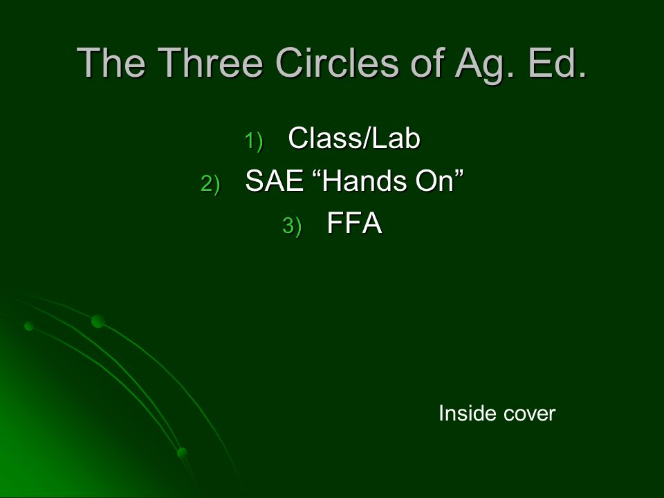 The Three Circles of Ag. Ed. 1) Class/Lab 2) SAE Hands On 3) FFA Inside cover