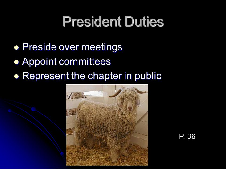 President Duties Preside over meetings Preside over meetings Appoint committees Appoint committees Represent the chapter in public Represent the chapt