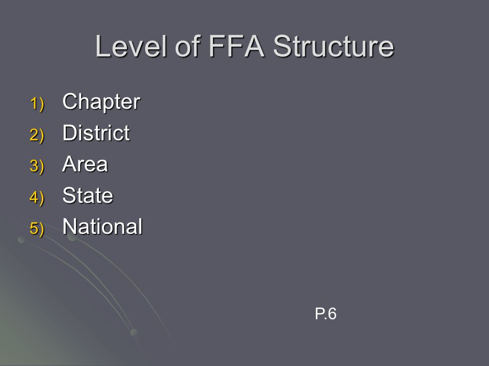 Level of FFA Structure 1) Chapter 2) District 3) Area 4) State 5) National P.6