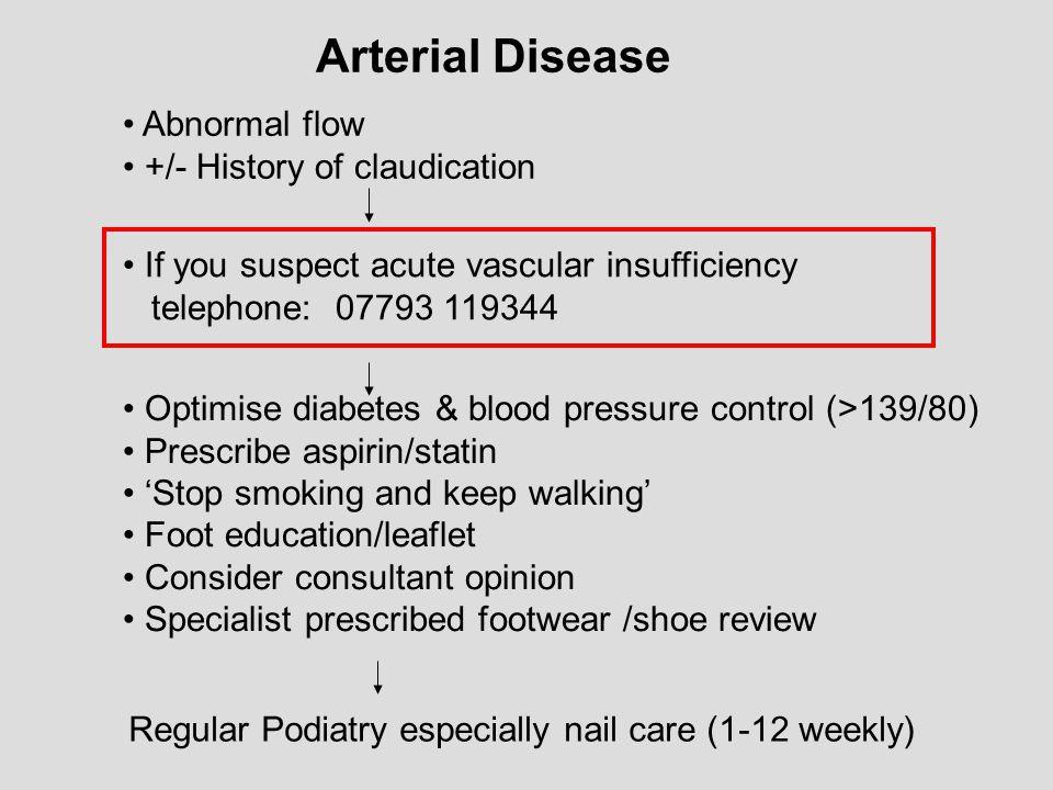 Arterial Disease Abnormal flow +/- History of claudication If you suspect acute vascular insufficiency telephone: 07793 119344 Optimise diabetes & blo
