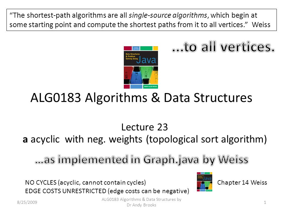 ALG0183 Algorithms & Data Structures Lecture 23 a acyclic with neg.