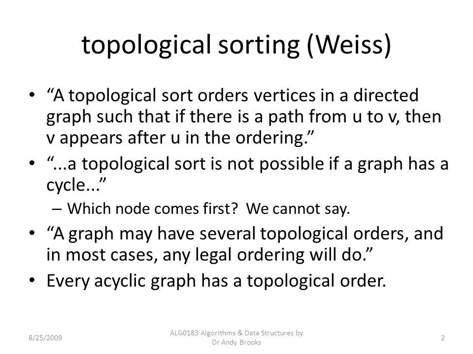 topological sort example http://en.wikipedia.org/wiki/Topological_sort 8/11/09 http://en.wikipedia.org/wiki/Topological_sort 7, 5, 3, 11, 8, 2, 9, 10 3, 5, 7, 8, 11, 2, 9, 10 3, 7, 8, 5, 11, 10, 2, 9 5, 7, 3, 8, 11, 10, 9, 2 etc.